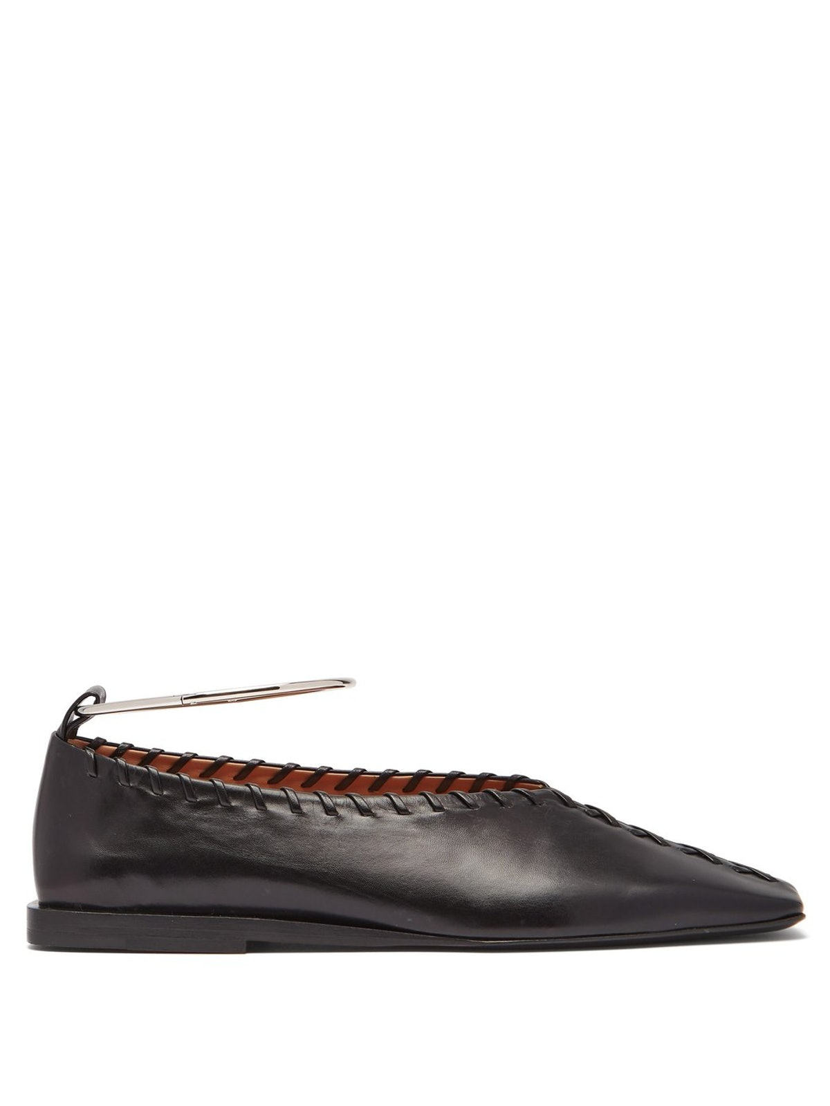 Whipstiched Leather Ballet Flats