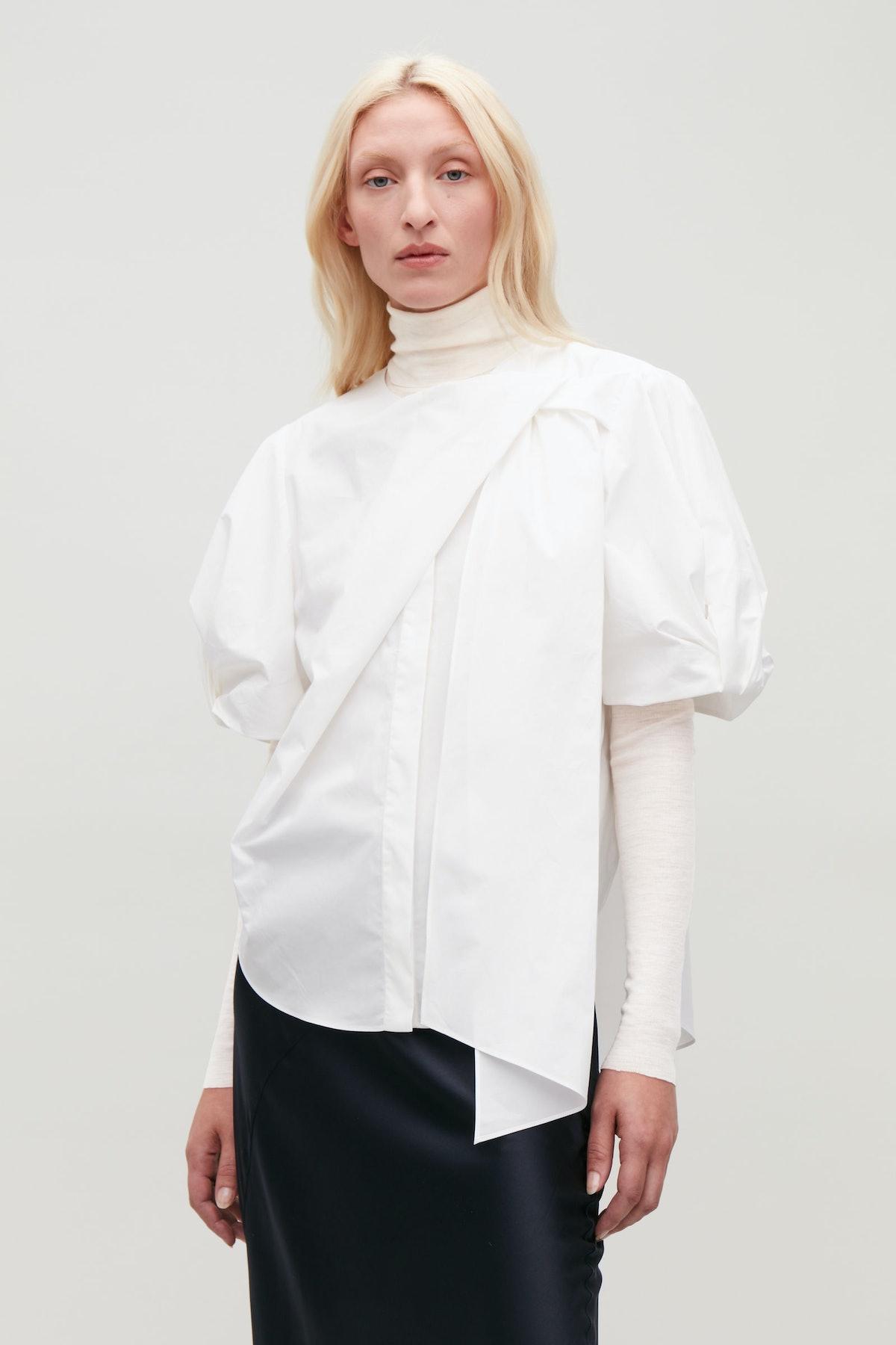 Bow-Detail Short-Sleeved Shirt