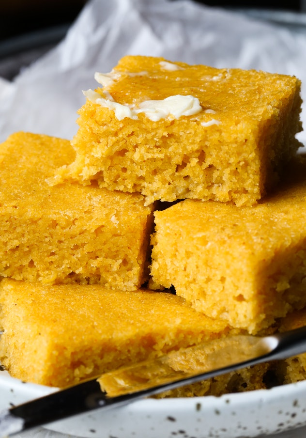 sliced corn bread with butter