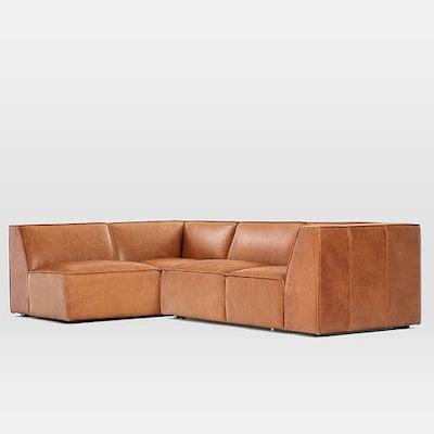 Sedona 2-Piece Leather Sectional, Left-Arm Sofa, Leather, Saddle