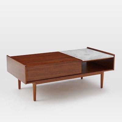 Mid-Century Pop-Up Storage Coffee Table – Walnut