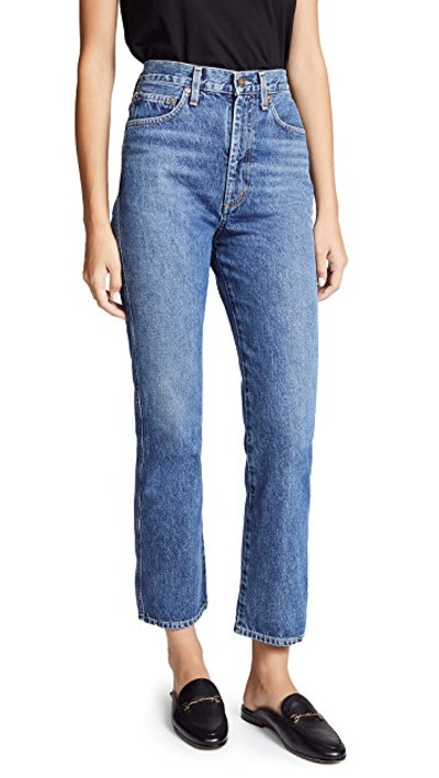 AGOLDE Pinch Waist High Rise Kick Jeans in Placebo