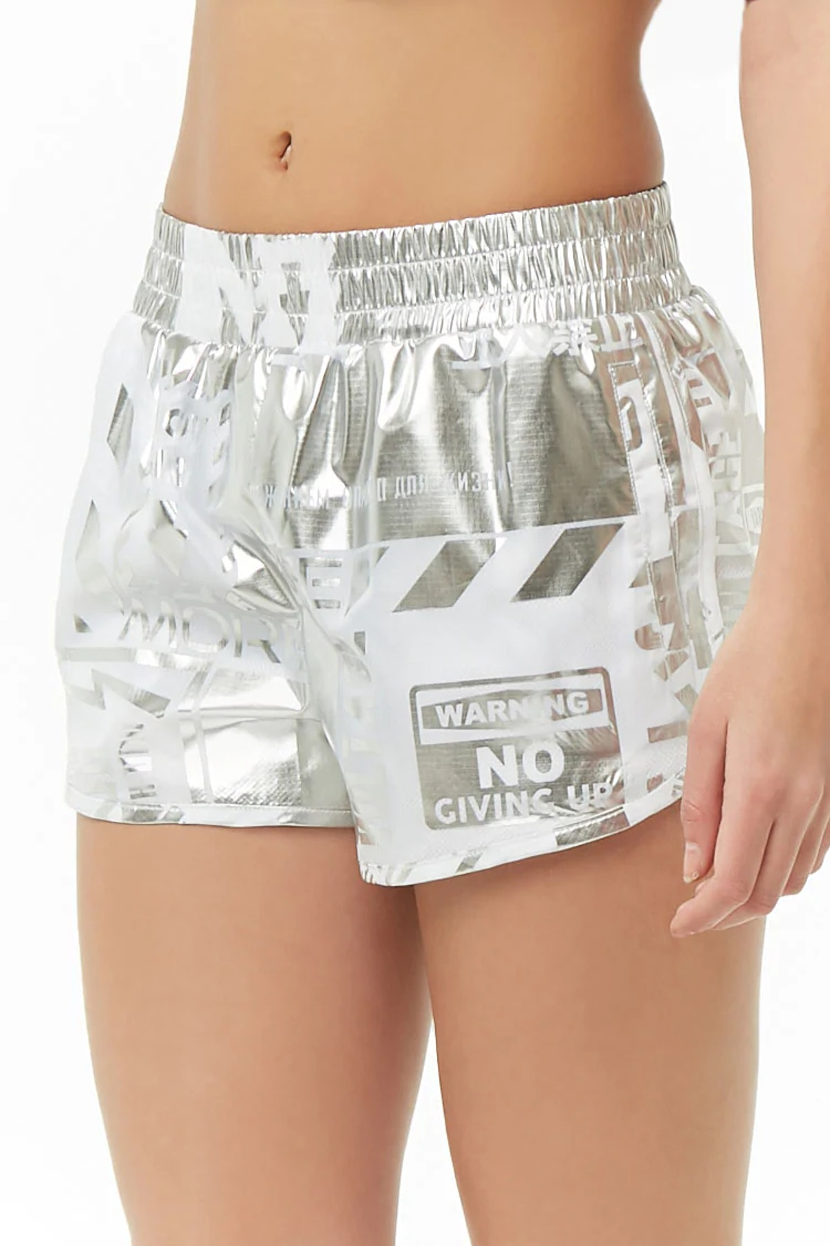 Metallic Mini Windbreaker Shorts