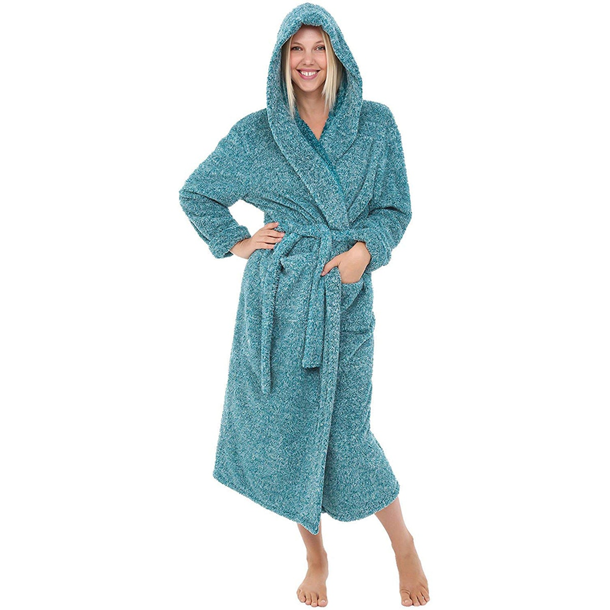 Alexander Del Rossa Women's Long Hooded Bathrobe