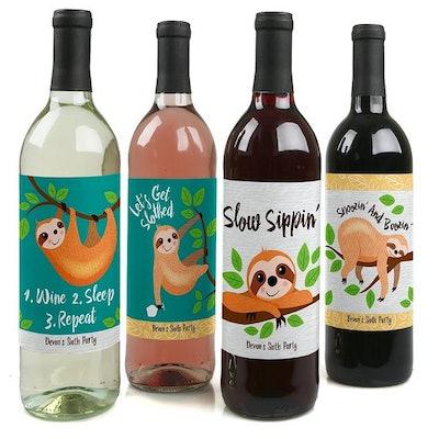 Let's Hang - Sloth - Wine Bottle Labels