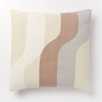 Corded Wavy Shapes Collage Pillow Covers, Dusty Blush