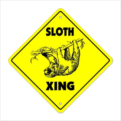 Sloth Crossing Sign Zone Xing