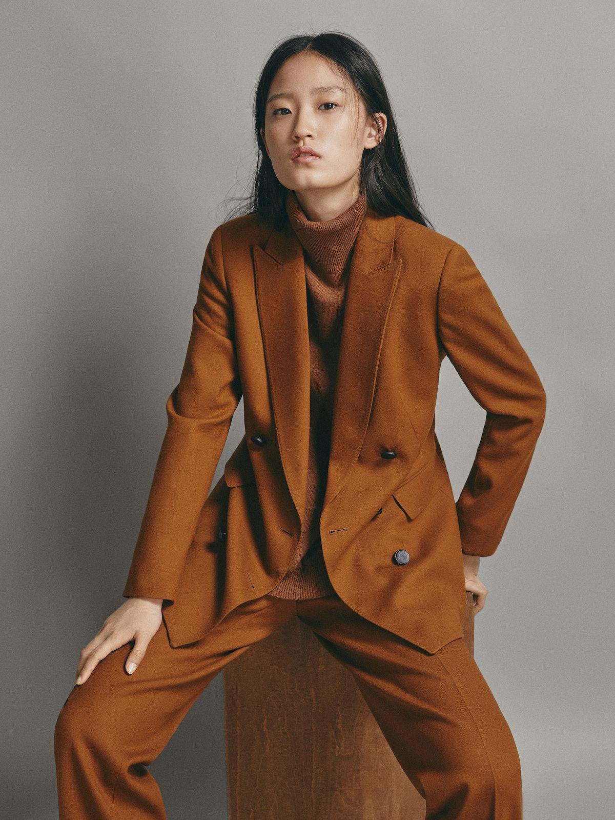 Slim Fit Plain Wool Double-Breasted Blazer