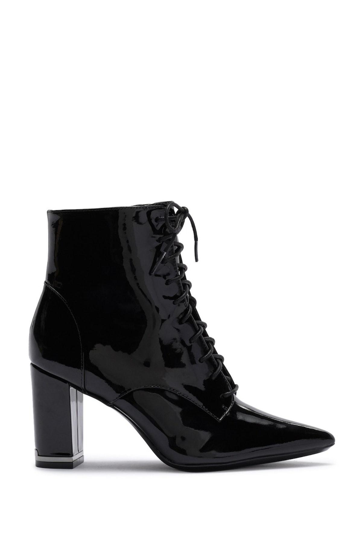 Calvin Klein Esma Patent Leather Lace Up Bootie