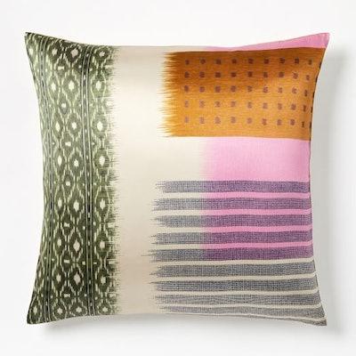 Blocked Ikat Silk Pillow Covers, Pink Sorbet