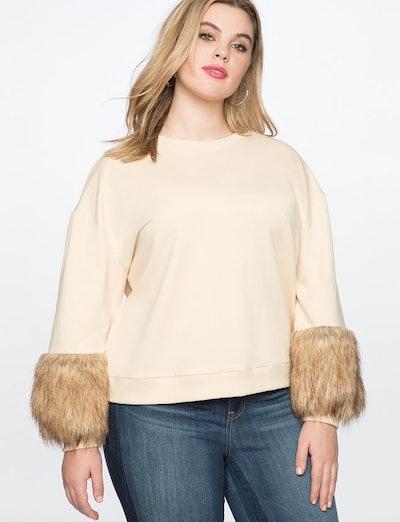 Fur Cuff Sweatshirt