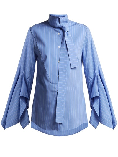 Draped-Sleeve Cotton Pussy-Bow Shirt