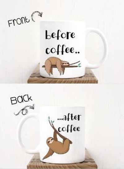 Sloth Before And After Coffee Mug