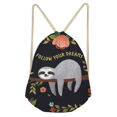 Showudesigns Sloth Gympack String Sack Drawstring Backpack