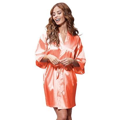 Turquaz Linen Satin Kimono Robe