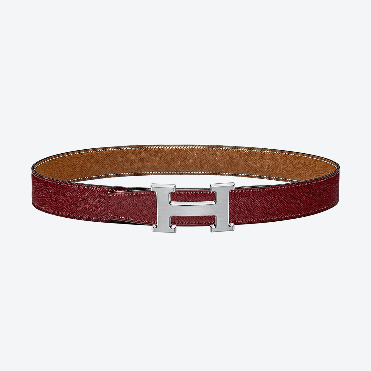 H Buckle Reversible Leather Belt