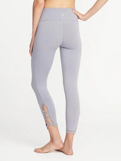 High-Rise Lattice-Hem Yoga Leggings