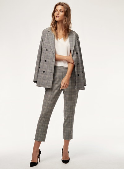 Samuel Blazer Fitted, Plaid, Double-Breasted Blazer