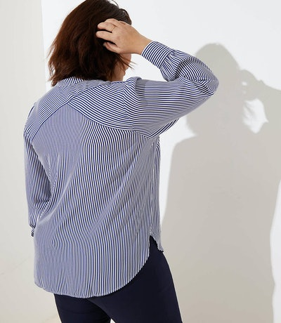 Plus Striped Crossover Back Utility Blouse