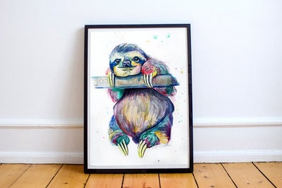 """Multicoloured Sloth Print from the Original Watercolour Painting: """"Hang in there"""""""