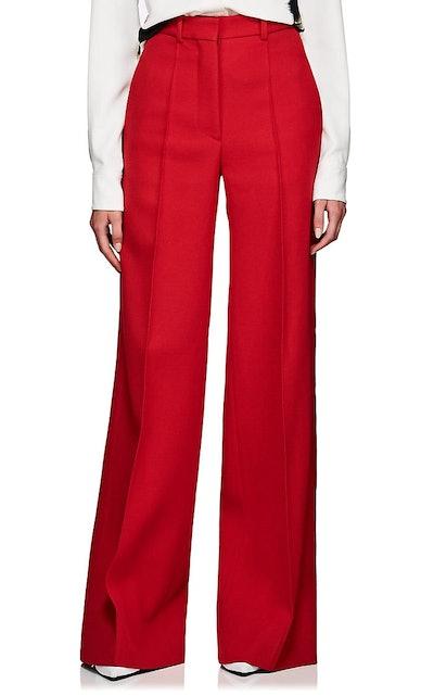 Virgin Wool Twill Flared Trousers