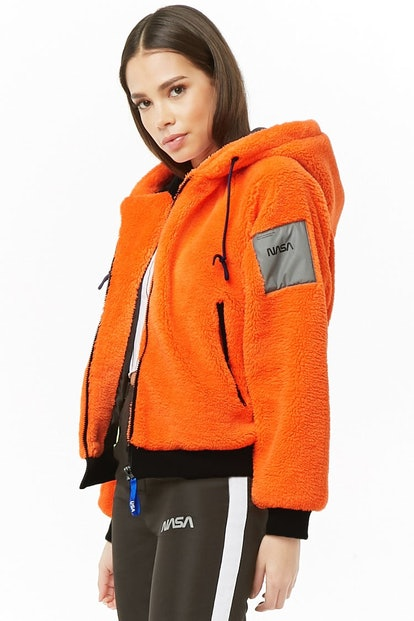 NASA Hooded Faux Fur Jacket