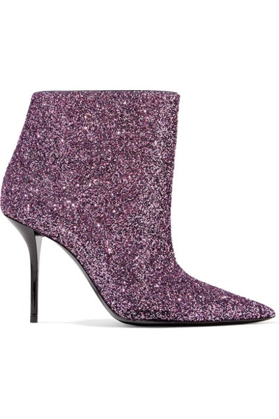 Pierre Glittered Leather Ankle Boots