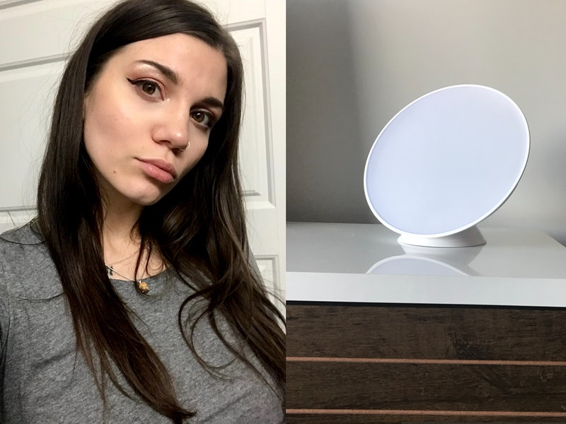 The author and her light therapy lamp. Do light therapy lamps work? One writer chronicles her week with a SAD lamp.