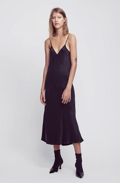 90s Silk Slip Dress Black