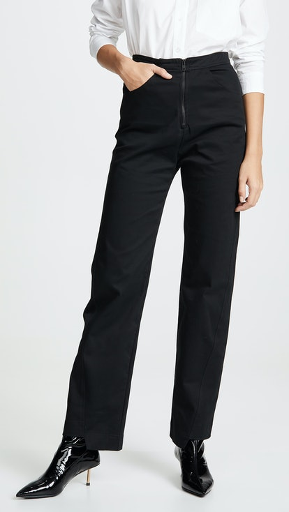 Angled Seam Structured Twill Pants