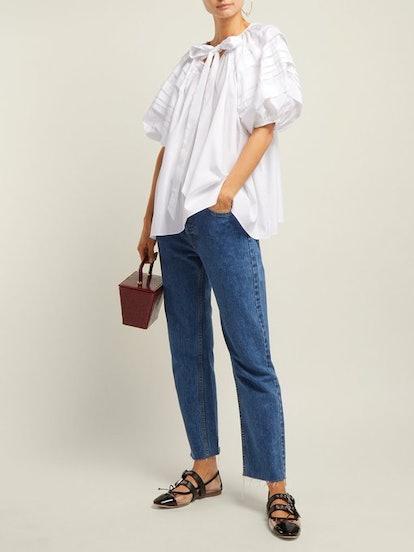 Paloma Pleated-Sleeve Cotton Blouse