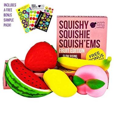Purple Ladybug Novelty Jumbo Fruit Squishies (5 Pack)