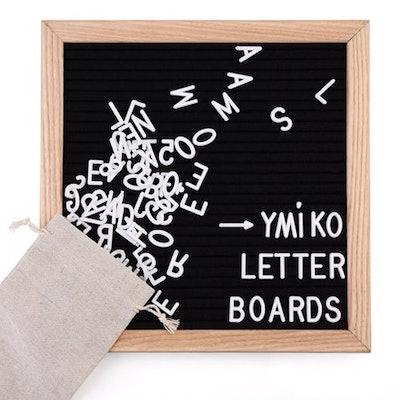 10'' x 10'' Black Felt Letter Boards with 423 Letters, Changeable Letter Board Oak Wood Frame