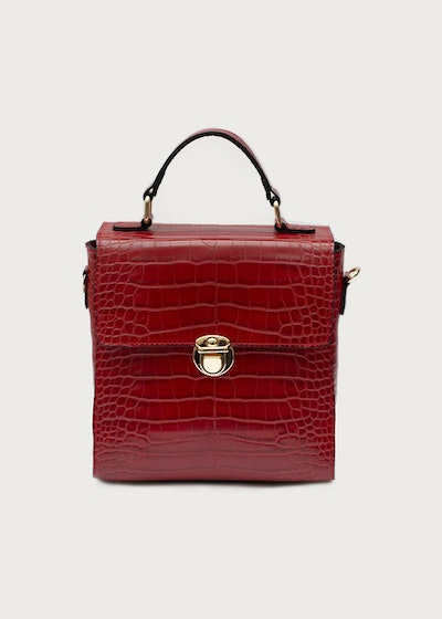 Red Embossed Croc Mayfair Bag