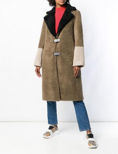 Fur Colour Block Coat