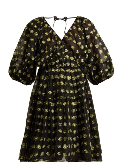 Suzette Floral Fil-Coupé Midi Dress