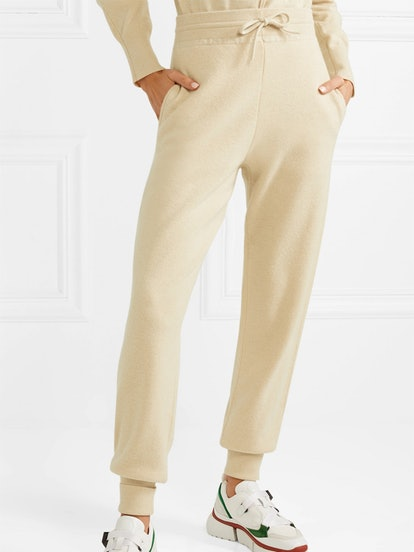 Metallic Intarsia Cashmere Track Pants