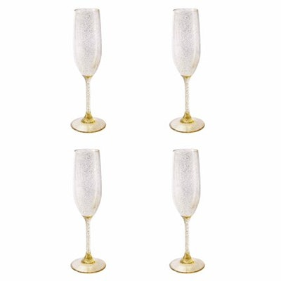 Mainstays Acrylic Gold Confetti Glitter Champagne Flute, Set of 4