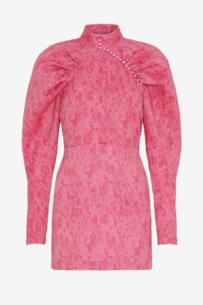Ruched Jacquard Mini Dress