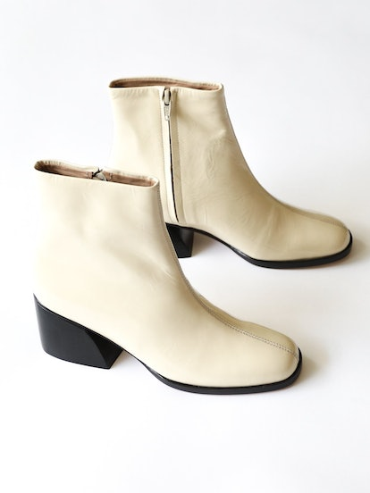 Jackson Ankle Boot in Ecru Crinkle