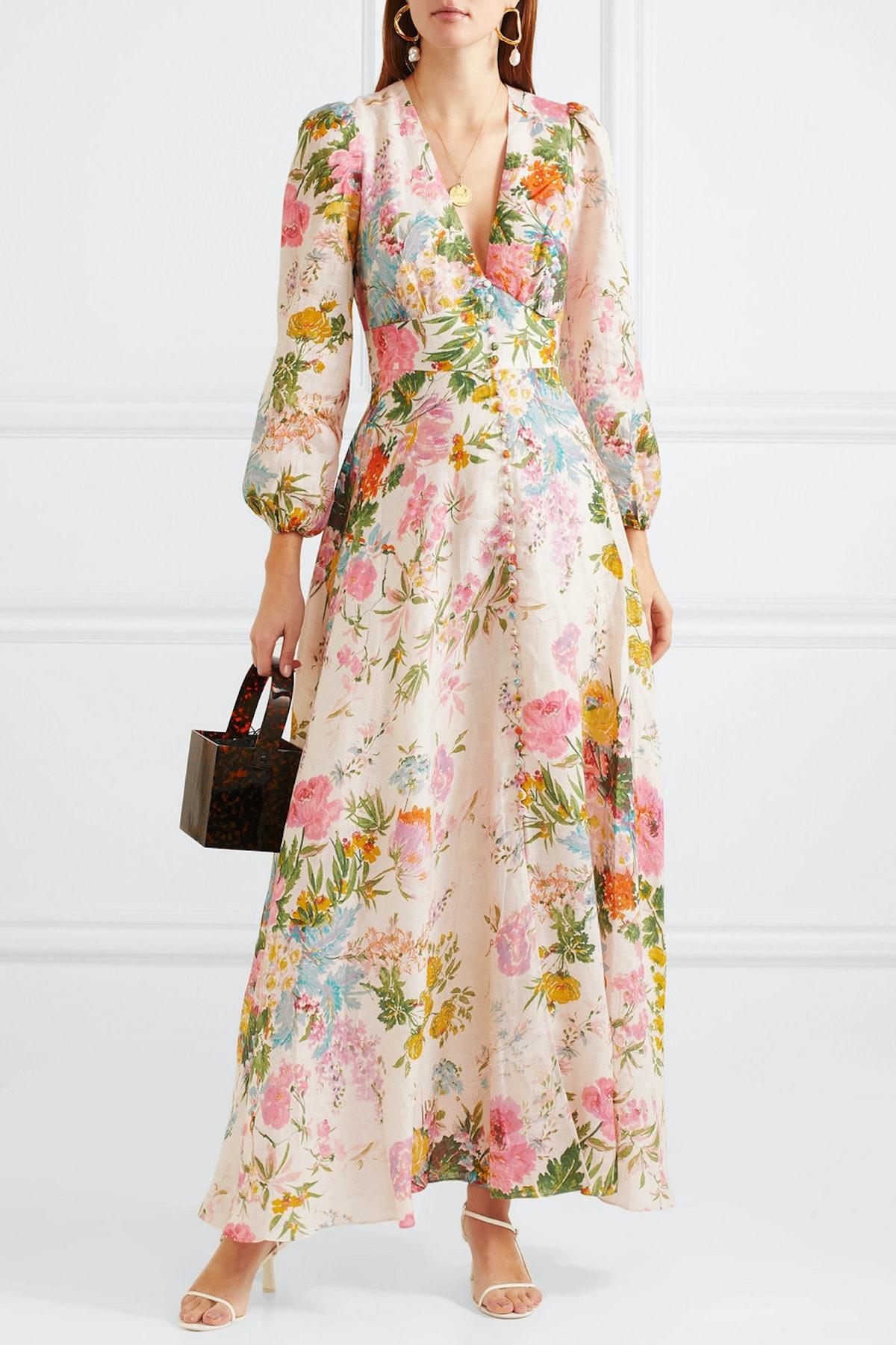 Heathers Floral-Print Linen Maxi Dress