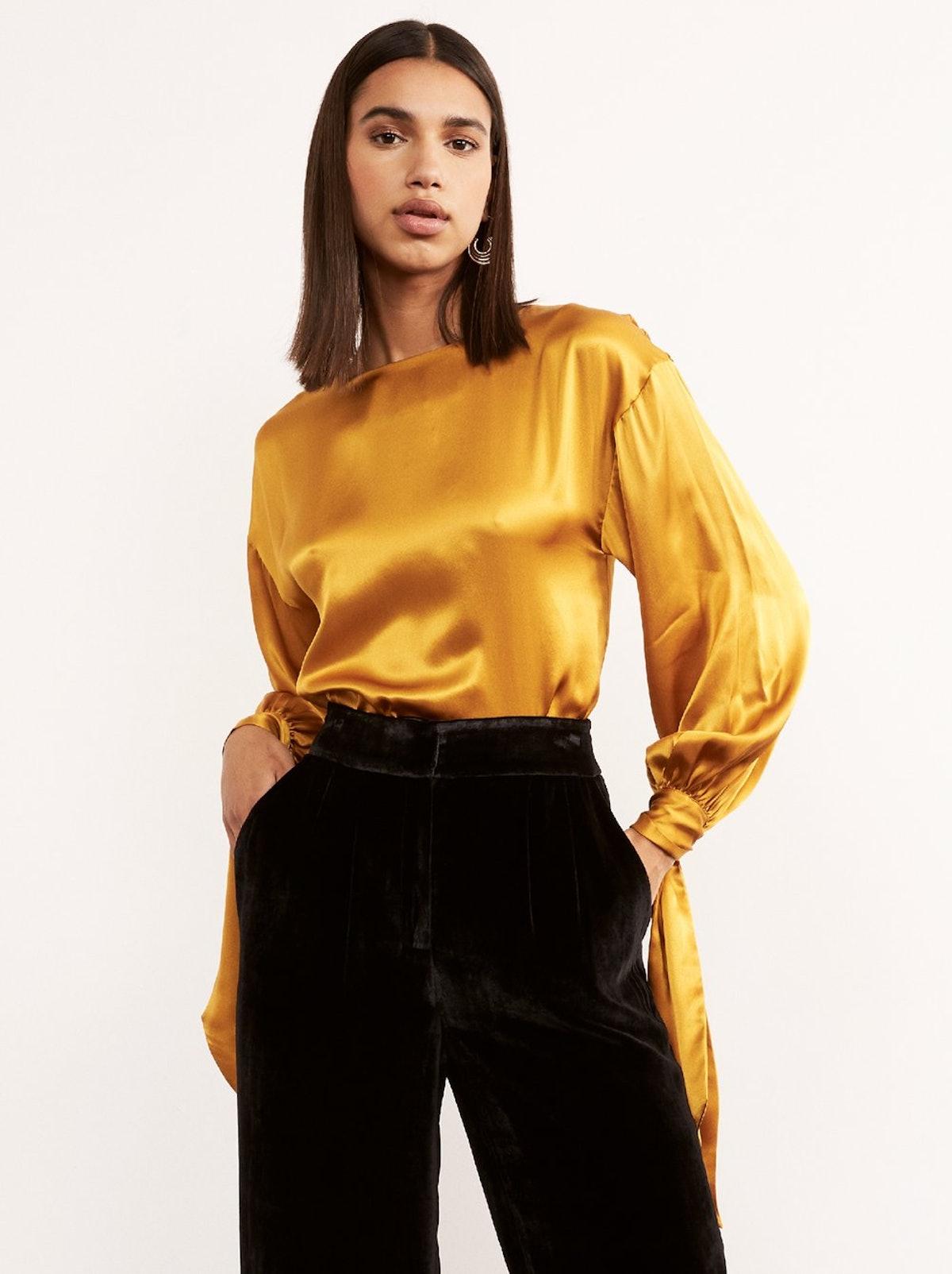 Bizet Silk Tie Sleeve Blouse