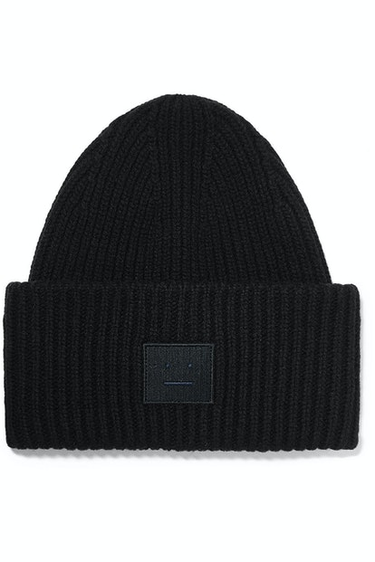 Pansy Face Appliqued Ribbed Wool Beanie