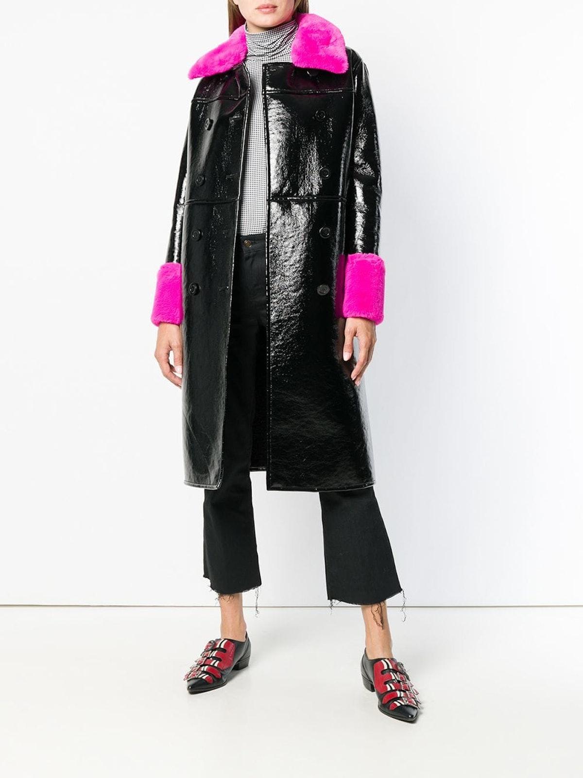 Contrastgin Fur Detail Coat