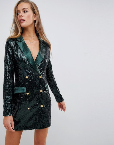 Missguided Double Breasted Sequin Blazer Mini Dress in Green