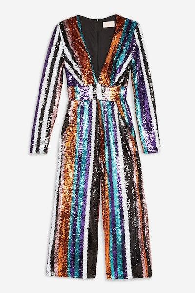 Stripe Sequin Plunge Jumpsuit by Club L