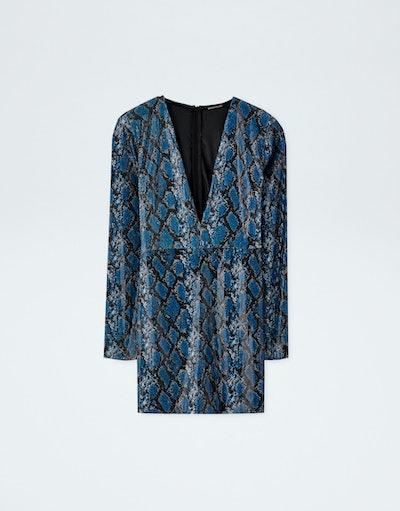 Snakeskin Print Sequin Mini Dress