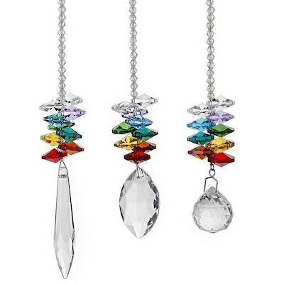 H&D Chandelier Crystals Prisms Rainbow Octogon Chakra Suncatcher, Set of 3