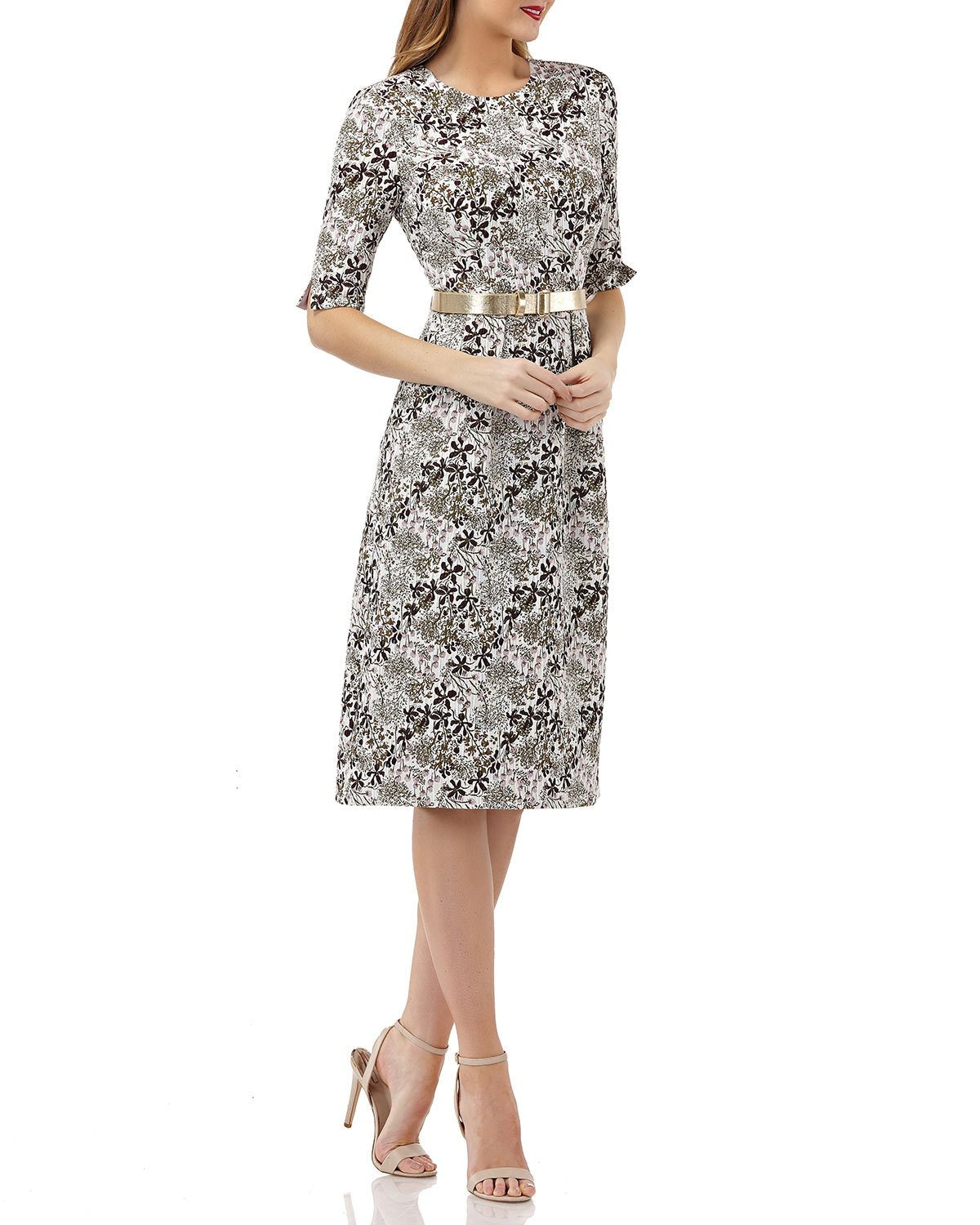 Stretch Jacquard Belted Dress With Pockets