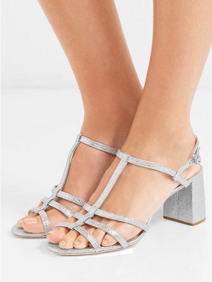 Elena Metallic Crinkled-Leather Sandals
